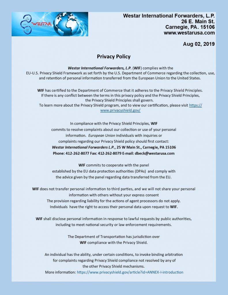 Privacy Shield Policy 2019 final
