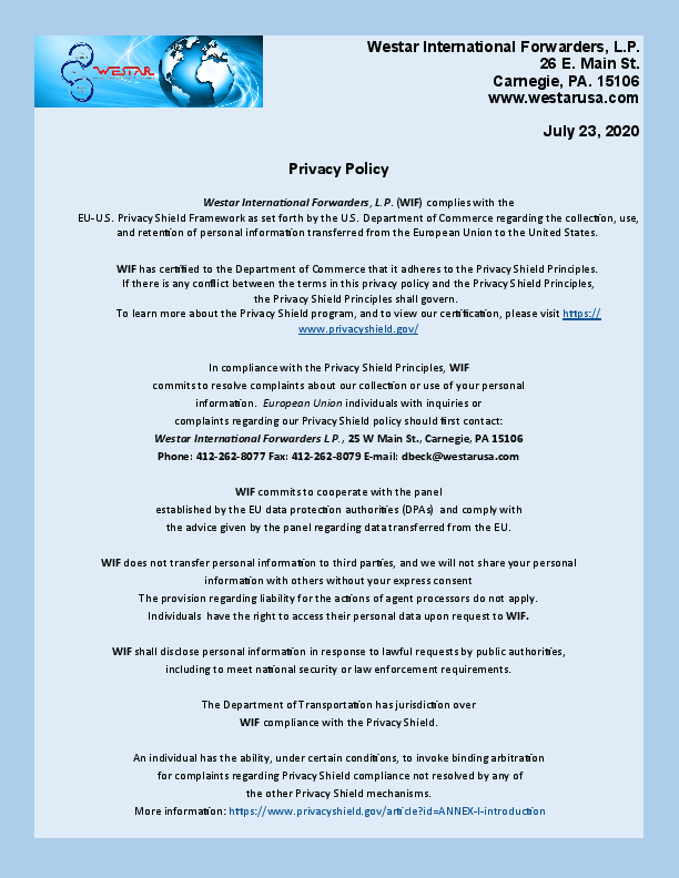 Privacy Policy 2020 July 23